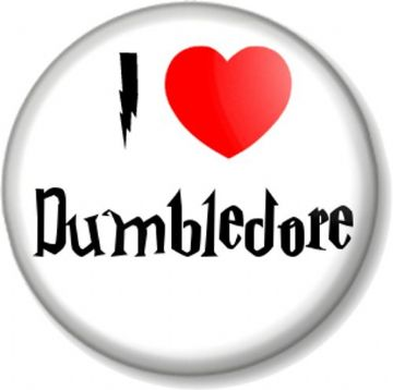 I Love / Heart Dumbledore Pinback Button Badge Harry Potter Albus Wizard Hogwarts Headmaster